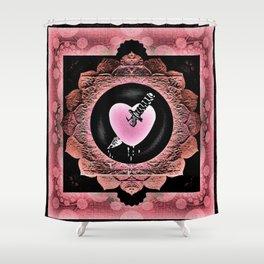Love Hurts Broken Heart Healing Rose Boho Mandala Shower Curtain