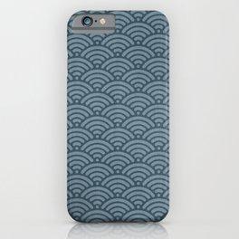 Blue Indigo Denim Seigaiha Sea Wave Nautical Minimalist Spring Summer iPhone Case