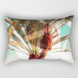 Modern summer tropical palm trees seascape photography white abstract geometric brushstrokes paint Rectangular Pillow