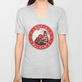 Sofia, Bulgaria, Alexander Nevsky Cathedral, circle, red Unisex V-Neck