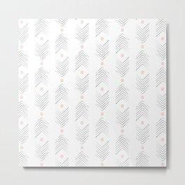 Pink Dot Chevron Arrows Metal Print