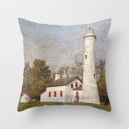 Sturgeon Lighthouse Textured Throw Pillow