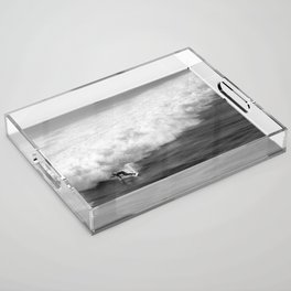 Lone Surfer in Black and White Acrylic Tray