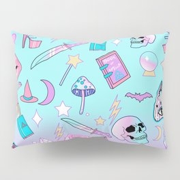 Girly Pastel Goth Witch Pattern Pillow Sham
