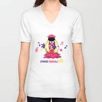 minaj V-neck T-shirts featuring Jynxi Minaj  by The Art of Leena Cruz :)