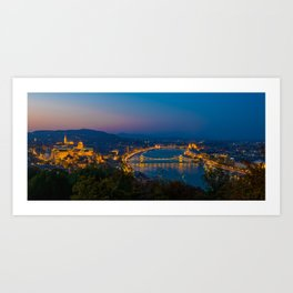 Aerial view of Budapest, Hungary, evening. Buda castle, Chain bridge and Parliament building. Art Print