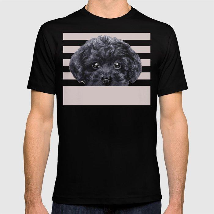 Black toy poodle Dog illustration original painting print T-shirt