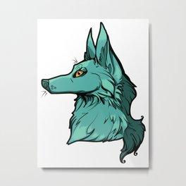Green Wolf Metal Print