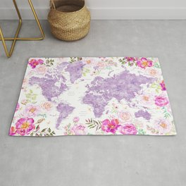 Purple watercolor floral world map with cities Rug