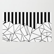 Abstract Outline Stripes Black and White Rug