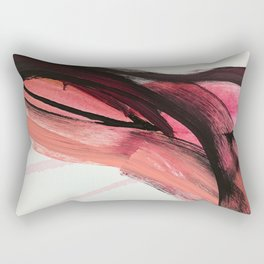 Entangled: a vibrant, colorful, abstract mixed-media piece in pinks and reds Rectangular Pillow