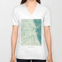 vintage map V-neck T-shirts featuring Chicago Map Blue Vintage by City Art Posters