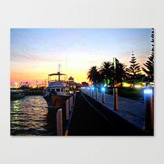Night falls over lake Entrance Canvas Print