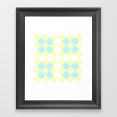 Checkers Yellow/Blue Framed Art Print