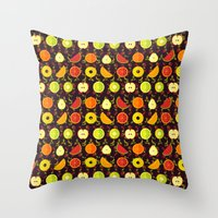 fruit Throw Pillows featuring FRUIT by badOdds