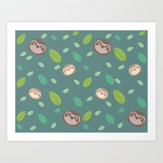 Sloth and Leaf Pattern Art Print
