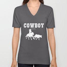 Cowboy Gift Maverick And Horse Lover Unisex V-Neck