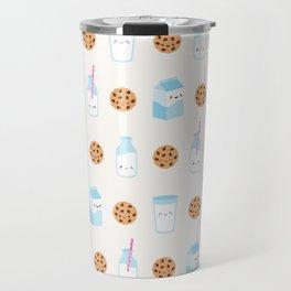 Milk and Cookies Pattern on Cream Travel Mug