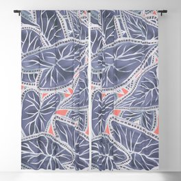 Tropical Caladium Leaves Pattern - Purple Gray Coral Blackout Curtain