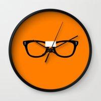 alex vause Wall Clocks featuring Alex Vause Glasses OITNB by Maria Giorgi