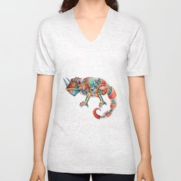 Steampunk Chameleon Watercolour Painting Unisex V-Neck