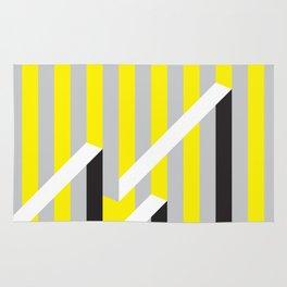 Spun yellow and grey stripes Rug