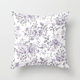 FLORAL VINTAGE ROSES MAUVE WHITE Throw Pillow