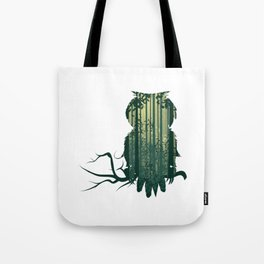Owl with forest landscape Tote Bag