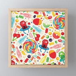 Candy Pattern - White Framed Mini Art Print