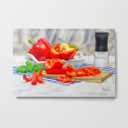 Sweet pepper still life Metal Print