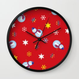 Snowflakes & Snowman_D Wall Clock