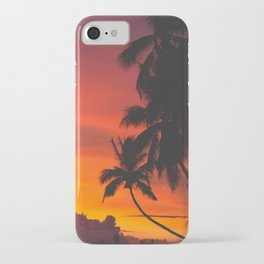 Tropical Palm Tree Sunset Silhouette Orange Red Yellow iPhone Case