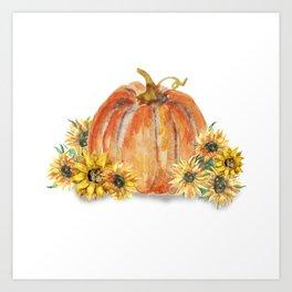 Pumpkins and Sunflowers Art Print