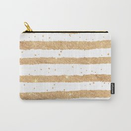 Elegant white faux gold glitter geometrical stripes Carry-All Pouch