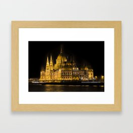 Budapest Parliament At Night Framed Art Print