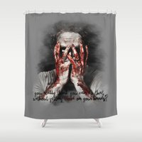grimes Shower Curtains featuring Rick Grimes from The Walking Dead by Cursed Rose