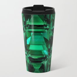 CLUSTERED FACETED EMERALD GREEN MAY GEMSTONES Travel Mug