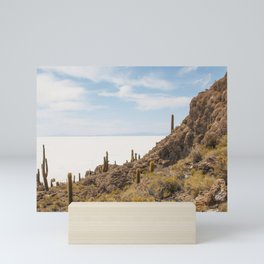 Cactus island Uyuni. Isla Incahuasi, Inkawasi or Inka Wasi Mini Art Print