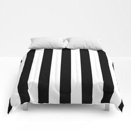 Vertical Stripes (Black/White) Comforters