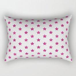 Abstract neon pink white faux glitter stars pattern Rectangular Pillow