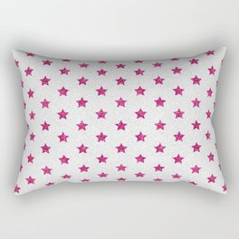 Abstract neon pink white faux glitter stars pattern Rectangular Pillow