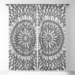 Chess Pieces Mandala - Grayscale Sheer Curtain