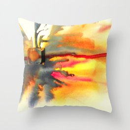 Outer Banks 6 | Sunset Abstract Watercolor Throw Pillow
