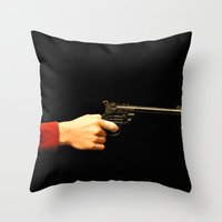 gun Throw Pillows featuring gun by Maleila
