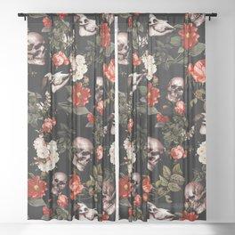 Floral and Skull Dark Pattern Sheer Curtain