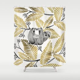 Happy Sloth – Tropical Gold Leaves Shower Curtain