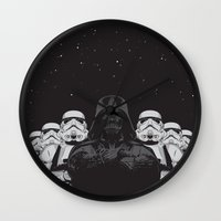 animal crew Wall Clocks featuring The crew by Roland Banrevi