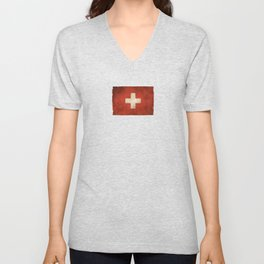 Old and Worn Distressed Vintage Flag of Switzerland Unisex V-Neck
