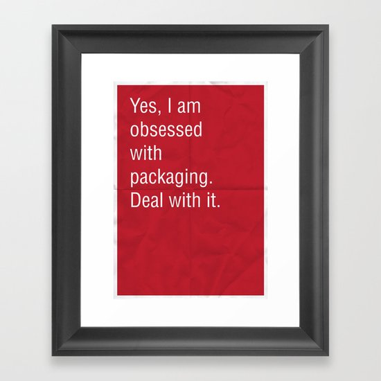 Yes, I am obsessed with packaging. Deal with it. Framed Art Print