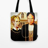 dwight Tote Bags featuring Dwight Schrute & Angela Martin (The Office: American Gothic) by Silvio Ledbetter